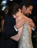 Les Misérables stars Hugh Jackman and Anne Hathaway hugged it out at the Critics' Choice Awards.