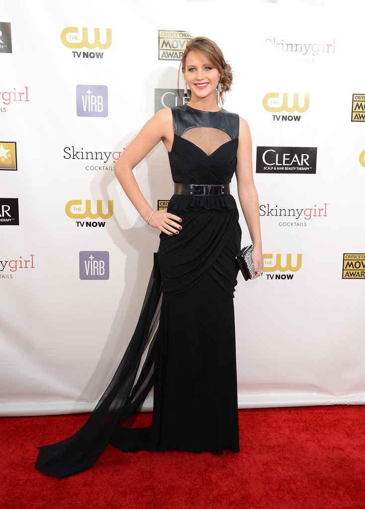 Jennifer Lawrence wore a black Prabal Gurung gown with leather embellishments.