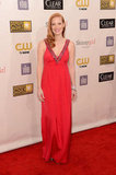 Jessica Chastain wore a bright Prada gown to the Critics' Choice Awards.