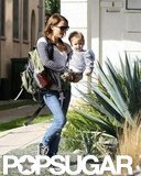 Natalie Portman talked with her son as they walked.