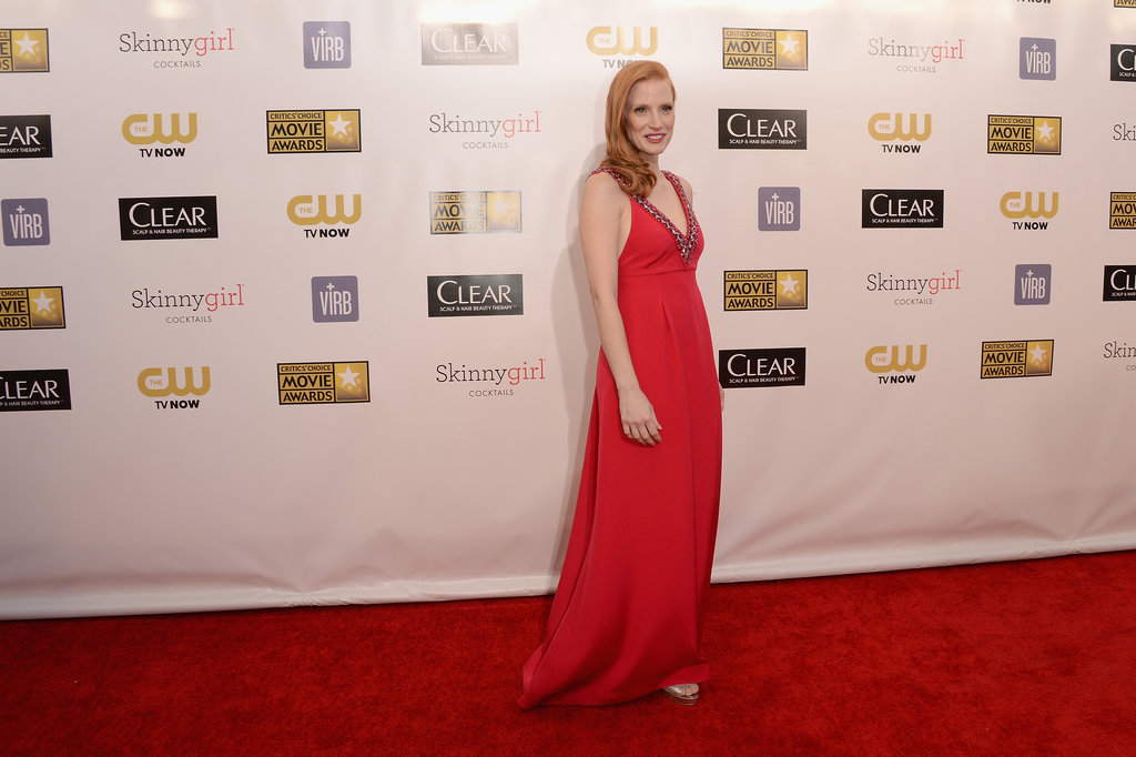Jessica Chastain Gets Glamorous in a Red Gown at Critics' Choice