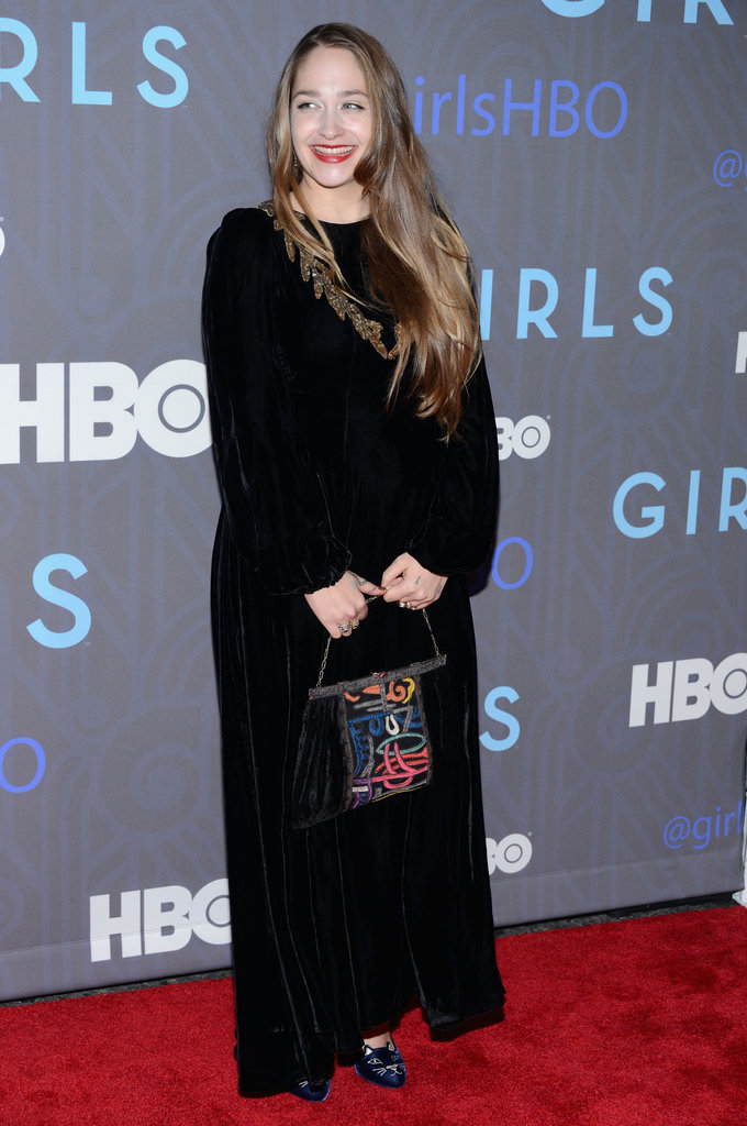 Jemima Kirke wore a long dress.