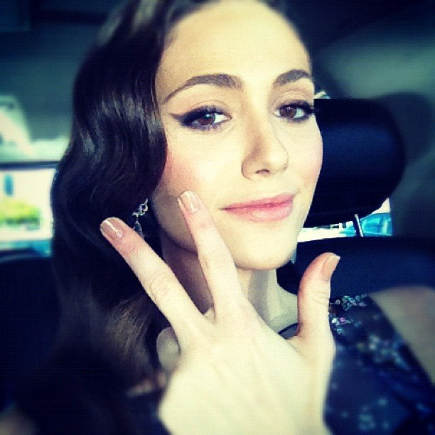 Emmy Rossum shared a snap while en route to the Critics' Choice Awards. Source: Instagram user emmyrossum