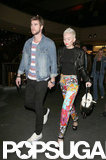 Miley Cyrus and Liam Hemsworth walked hand in hand.