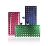 Rebecca Minkoff for Stellé Audio Clutch in Leather Studded Pink, Green, and Blue ($399)