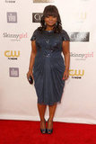 Octavia Spencer's Tadashi Shoji cocktail number featured cap-sleeves and a ruched bodice, which got a double injection of texture via metallic lace embellishments along the neckline.