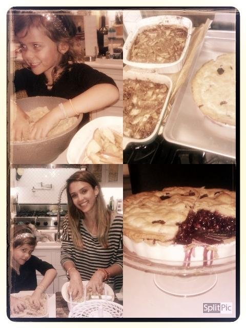 After traveling for the holidays, Honor Warren got to work baking up a storm with her mom. Source: Twitter user jessicaalba