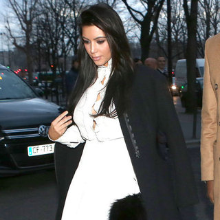 Kim Kardashian Wearing White Skirt in Paris