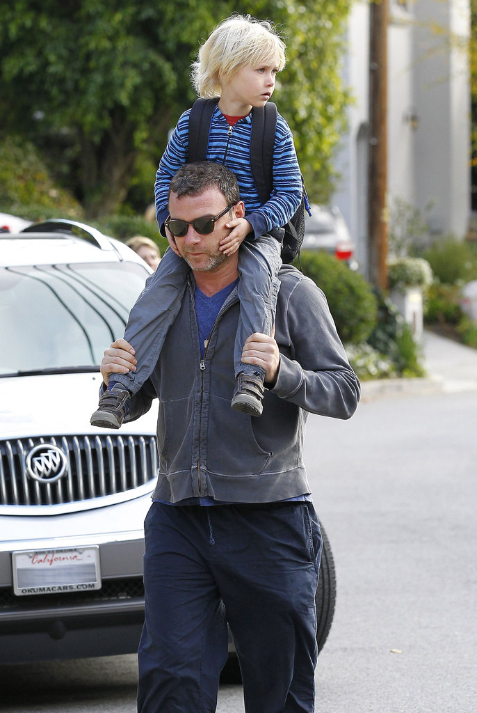Liev Schreiber and Sasha walked around together.