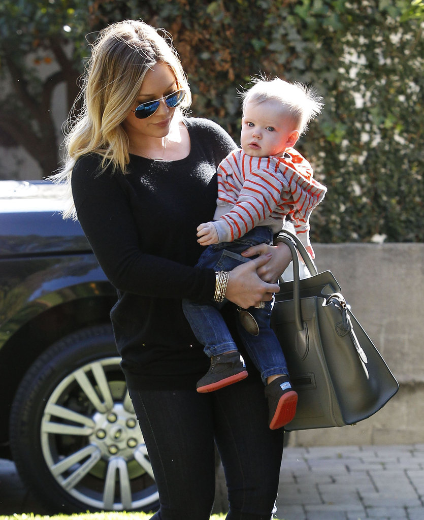 Hilary Duff dressed Luca Comrie in jeans and little sneakers.