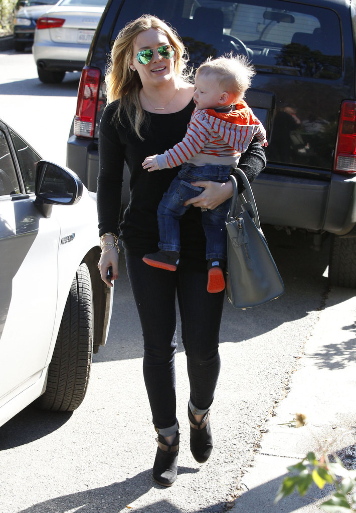 Hilary Duff was all smiles with her little boy Luca Comrie.