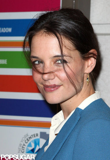 Katie Holmes smiled on her way into a Broadway show.