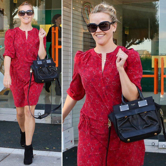 Get Reese Witherspoon's printed dress — and style it up with the same cool-girl finish.