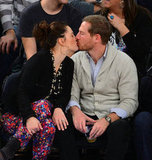 Drew Barrymore planted a kiss on Will Kopelman during a NY Knicks basketball game in January 2013.