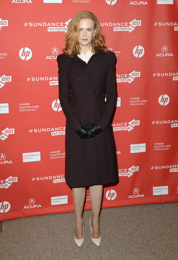 Nicole Kidman donned a brown coat over a soft-pink dress and matching pumps at the Stoker premiere, then finished off with black leather gloves for extra warmth.