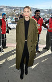 When outdoors, Rooney threw on an olive coat for a fashion-forward colour pairing we love.