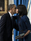 Barack and Michelle Obama shared a kiss during the ceremony.