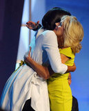 Michelle Obama and Jill Biden shared a big hug.