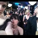 Lena Dunham found fellow Golden Globe nominee Zooey Deschanel. I spy Jon Hamm! Source: Instagram user zooeydeschanel