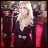 Kate Hudson looked sexy in a black and gold Alexander McQueen gown on the Golden Globes red carpet. Source: Instagram user rachel_roy