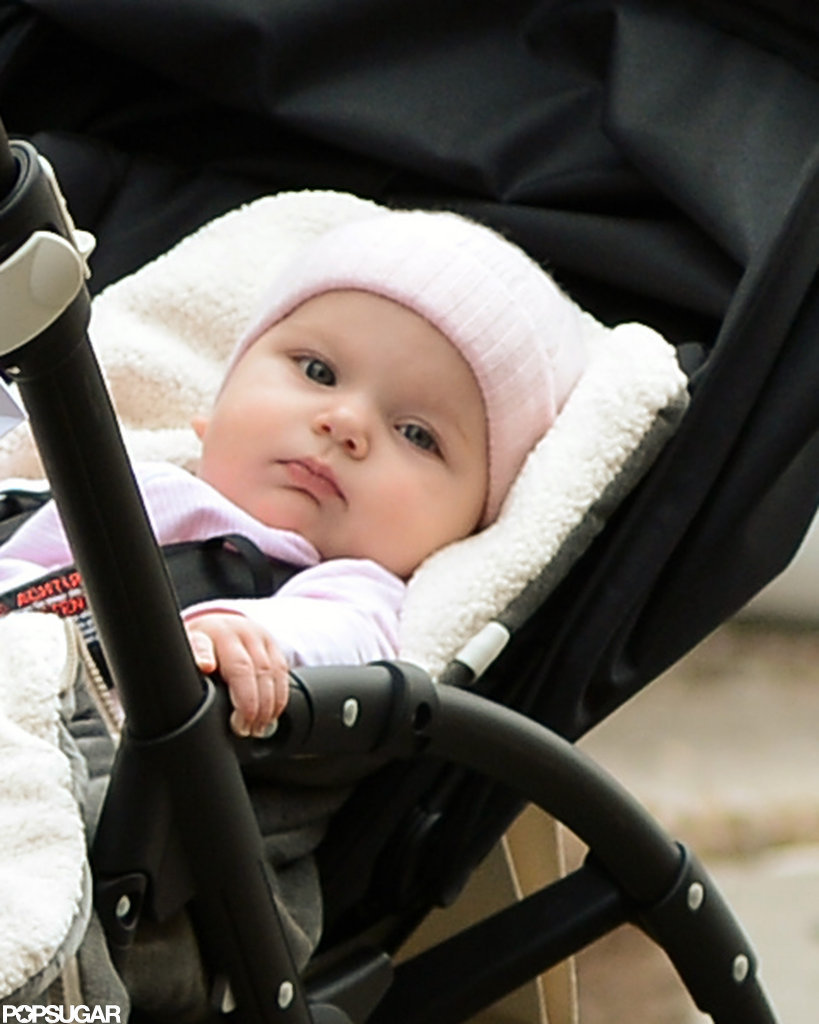 Lily Aldridge's daughter, Dixie, sat in her stroller.