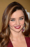Miranda Kerr wore a deep red lip.
