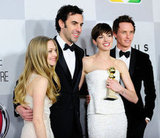 Amanda Seyfried, Sacha Baron Cohen, Anne Hathaway, and Eddie Redmayne grouped together for a snap outside of NBC's afterparty.