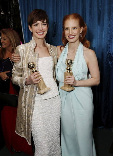 Anne Hathaway and Jessica Chastain showed off their statues at NBC's post-Golden Globes bash.