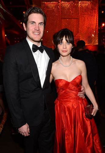 Jamie Linden and girlfriend Zooey Deschanel made the rounds at a Golden Globes party.