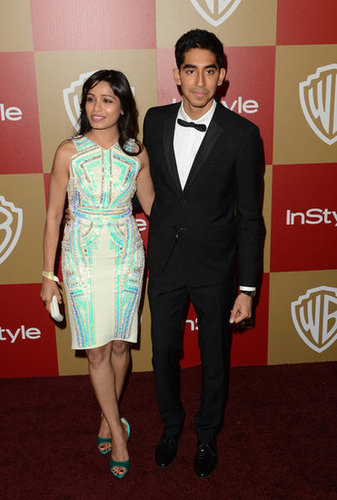 Dev Patel and Freida Pinto posed together on the red carpet.