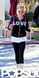 "Britney Spears wore a ""LOVE"" sweatshirt when she stepped out to grab a couple smoothies in Calabasas, CA, one week after splitting with fiancé Jason Trawick."