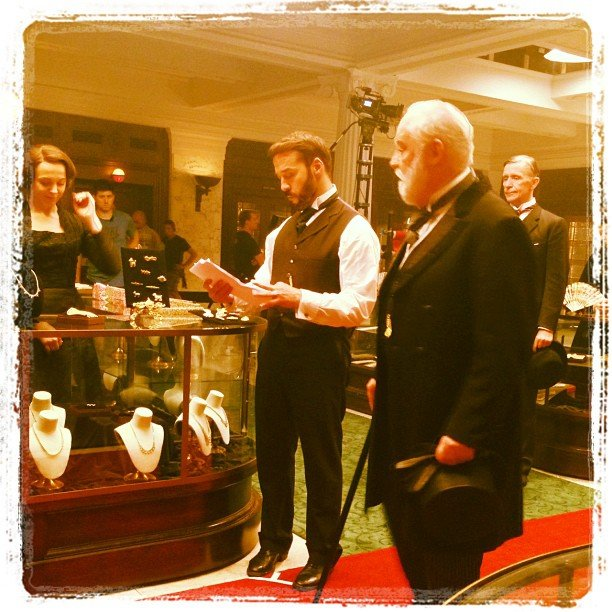 Jeremy Piven checked his script on the set of his new show, Mr. Selfridge. Source: Instagram user howulivinjpiven