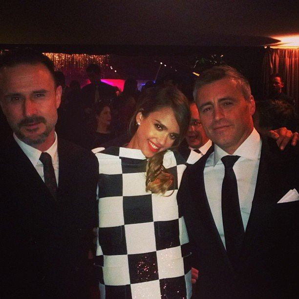 Jessica Alba posed with David Arquette and Golden Globe nominee Matt LeBlanc. Source: Instagram user jessicaalba