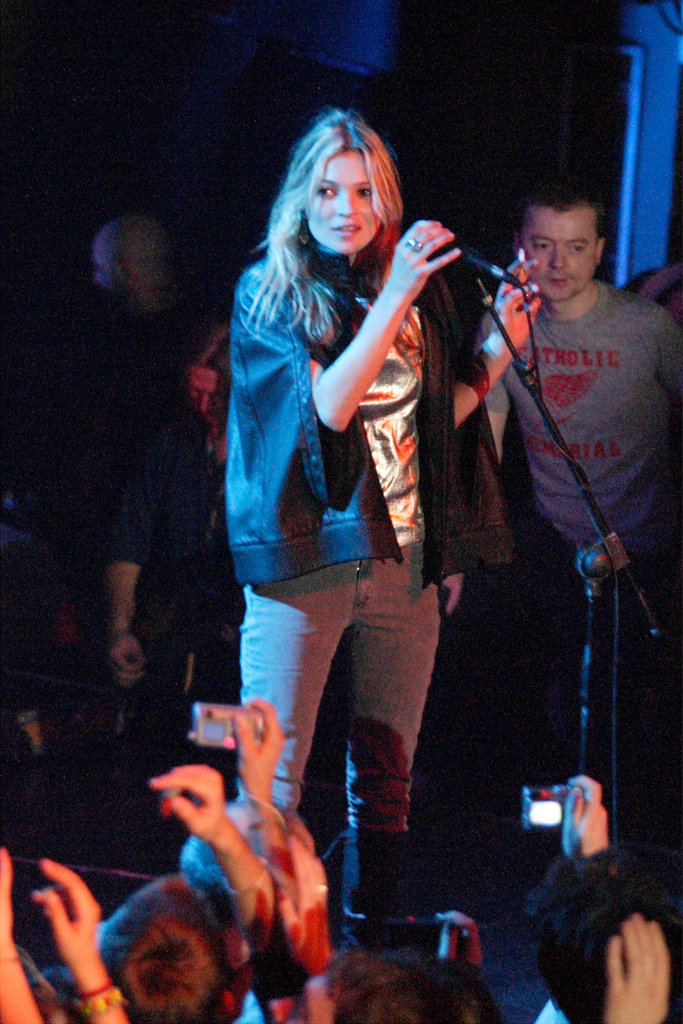 Kate Moss took the stage with her then-boyfriend Pete Doherty's band in Rome in October 2006.