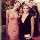 Jessica Alba posed with gymnast Aly Raisman at the Golden Globes Source: Instagram user jessicaalba