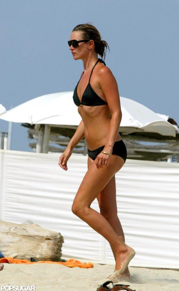 Kate Moss wore a bikini in Saint-Tropez during August 2003.