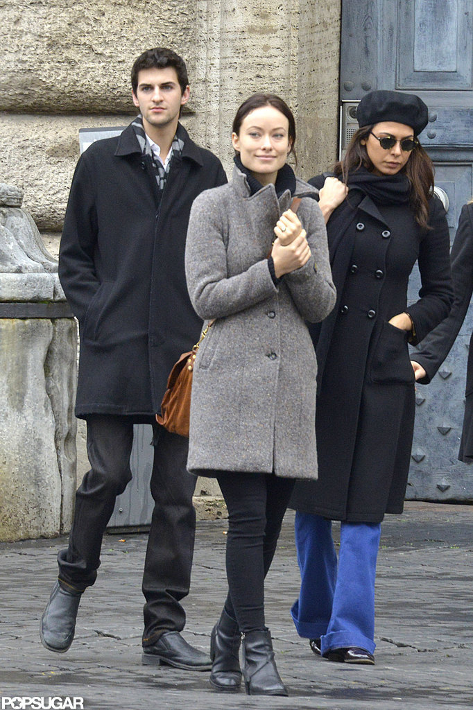 Olivia Wilde wore a gray coat.