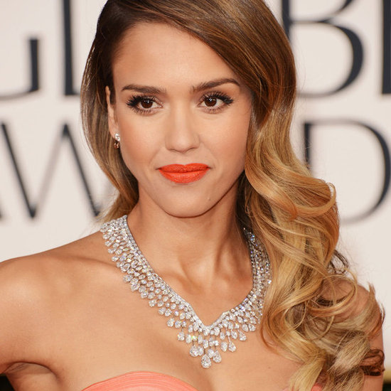 Get the Globes Look: Jessica Alba's Exact Lip Colour & Soft Waves