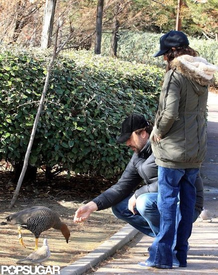 Penélope Cruz and Javier Bardem fed the ducks together in Madrid.