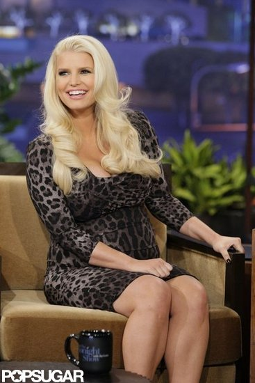 "Jessica Simpson Tells Leno Her Fiancé's ""Knocking Me Up"" Delays Their Wedding"
