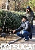 Penélope Cruz and Javier Bardem fed the ducks at a park in Madrid.