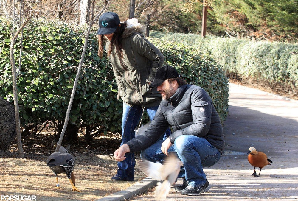 Penélope Cruz and Javier Bardem had a date at the park in Madrid.