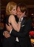 Nicole Kidman kissed her husband, Keith Urban, at the Golden Globes.