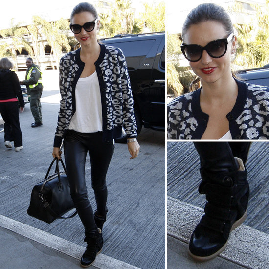 Miranda Kerr Wearing Leopard Cardigan at LAX
