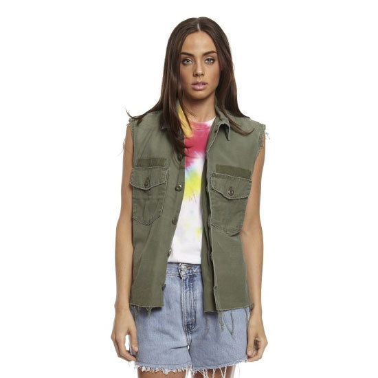 A utilitarian topper like this can be worn over the top of a tank (see above) if you need another layer or simply wear it by itself. Kate Moss would approve. Sleeveless shirt, $89.95, Once We Were Young at Glue Store