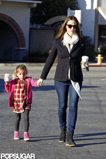 Jennifer Garner wore a white scarf and blazer to pick up a coffee with Seraphina in LA.