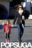 Jennifer Garner carried a coffee to her car while holding hands with daughter Seraphina.