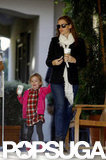 Jennifer Garner picked up a coffee accompanied by daughter Seraphina in LA.