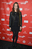 Kaya Scodelario dressed up in a black lace skirt, leather biker jacket, and textured tights at the Emanuel and the Truth About Fishes premiere.