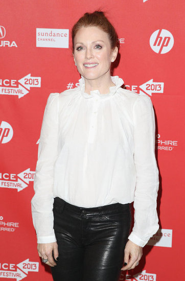 A closer look at Julianne's blouse reveals an ornate ruffled collar.